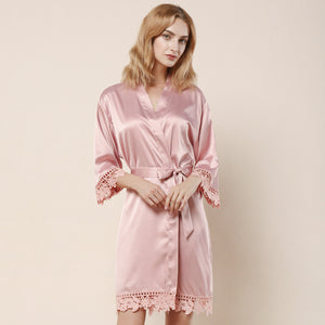 Dusty Rose Satin Lace Robe - SimplyNameIt