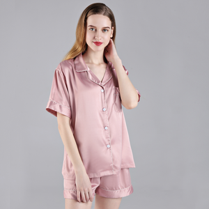 Dusty Rose Short Sleeve Button down and Shorts Pajama Sets - SimplyNameIt