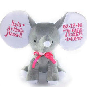 Grey Elephant with Embroidered Birth Stats