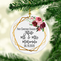 1st Christmas Engaged Circle Ornament - SimplyNameIt