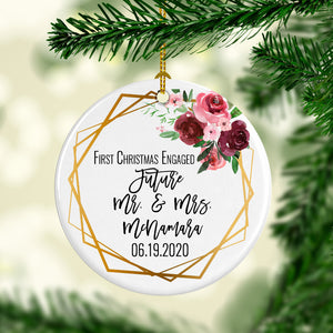 1st Christmas Engaged Circle Ornament