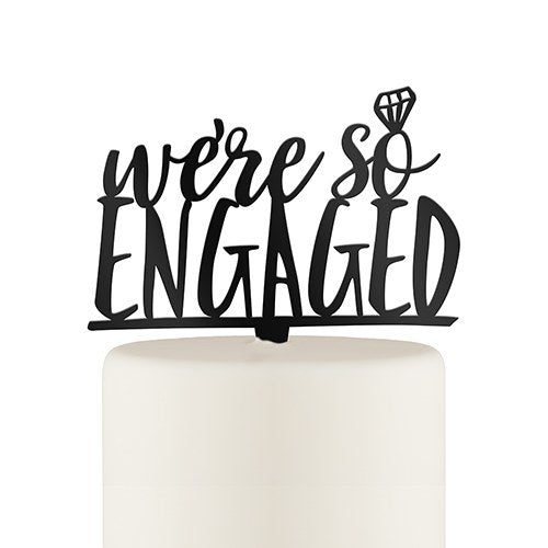 Engaged Cake Topper - Black - SimplyNameIt
