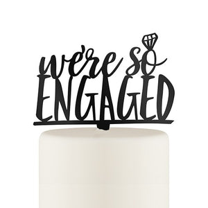 Engaged Cake Topper - Black