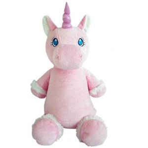 Pink Unicorn with Embroidered Birth Stats
