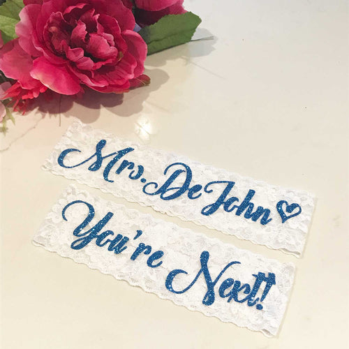 Set of Two Garters personalized with Name - SimplyNameIt