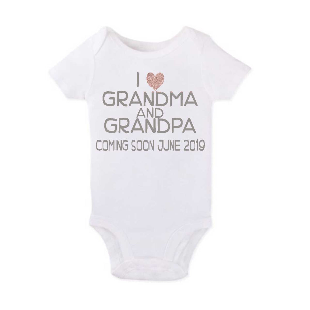 Grandma and Grandpa Announcement Onesie - SimplyNameIt