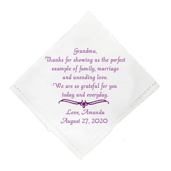 Wedding Handkerchief For Grandmother - SimplyNameIt