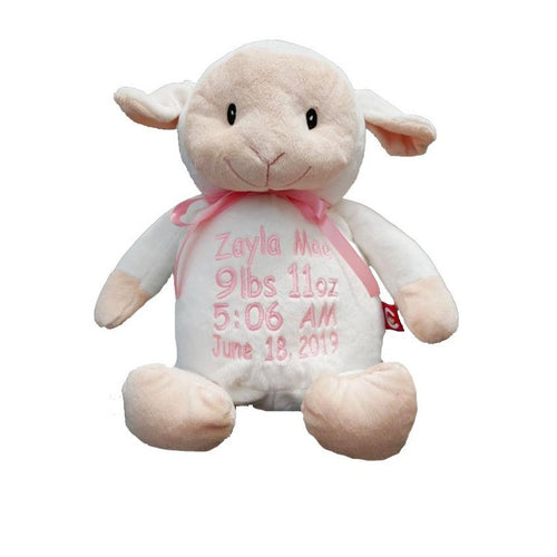 Lamb with Embroidered Birth Stats - SimplyNameIt