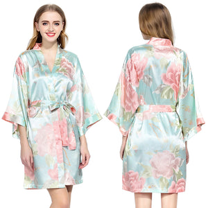 Light Blue Floral Satin Robe - SimplyNameIt