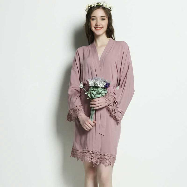 Mauve Cotton Lace Robe - SimplyNameIt