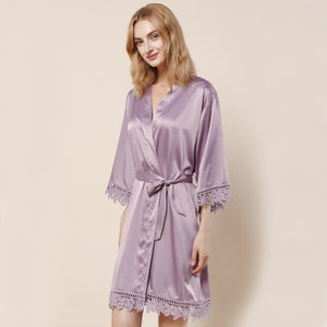 Mauve Satin Lace Robe - SimplyNameIt