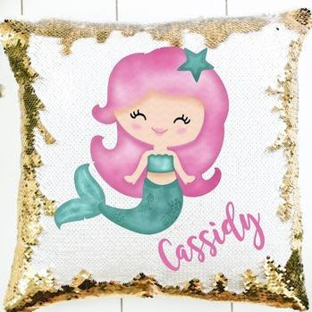 Mermaid Sequin Pillow - SimplyNameIt