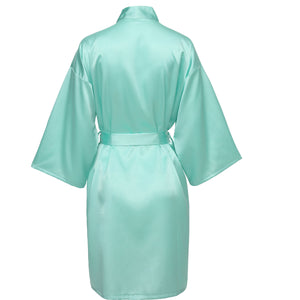 Tiffany Blue Satin Robe - SimplyNameIt