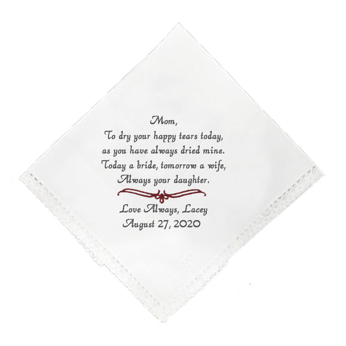 Mother of Bride Handkerchief - SimplyNameIt