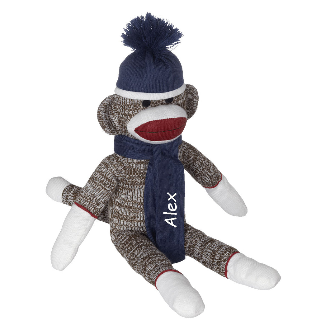 Blue Sock Monkey with Embroidered Name and Year - SimplyNameIt