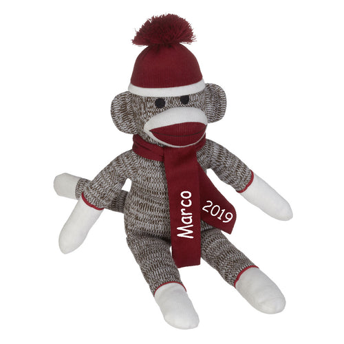 Red Sock Monkey with Embroidered Name and Year - SimplyNameIt