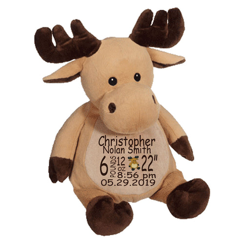 Moose with Embroidered Saying or Birth Stats - SimplyNameIt