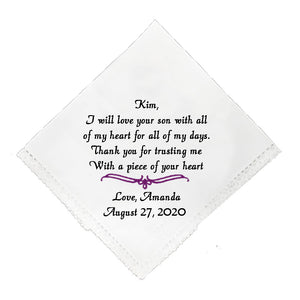 Wedding Handkerchief For Mother of Groom - SimplyNameIt