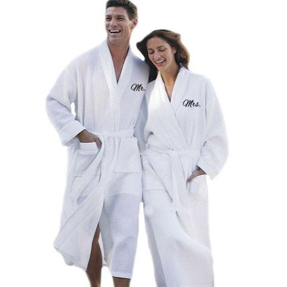 Mr. and Mrs. Waffle Robe Set - SimplyNameIt