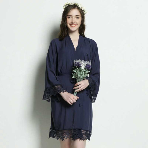 Navy Cotton Lace Robe - SimplyNameIt
