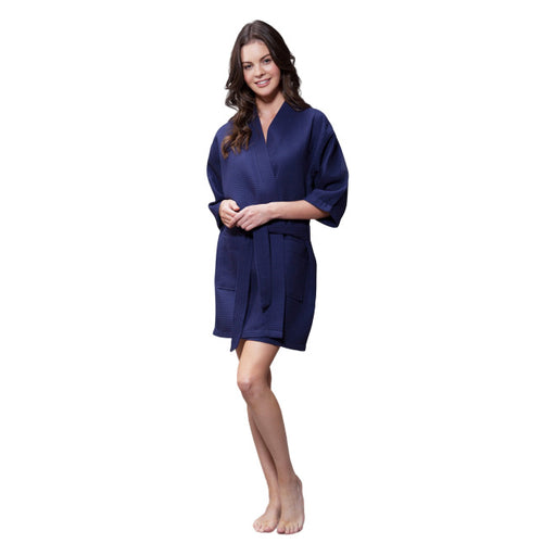 Navy Waffle Robe - SimplyNameIt