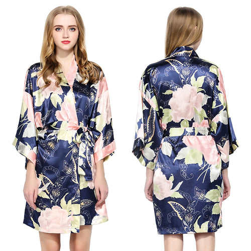 Navy Floral Satin Robe - SimplyNameIt