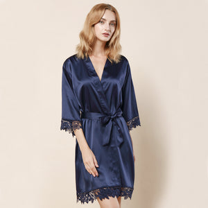 Navy Satin Lace Robe - SimplyNameIt