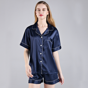 Navy Short Sleeve Button down and Shorts Pajama Sets - SimplyNameIt