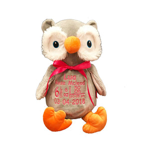 Owl with Embroidered Birth Stats - SimplyNameIt