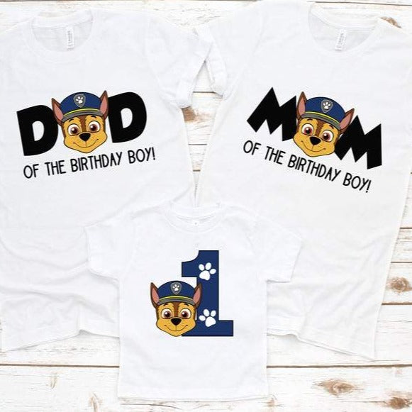 Paw Patrol Chase Family Birthday Shirts - SimplyNameIt