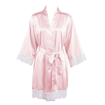 Blush Satin Lace Robe
