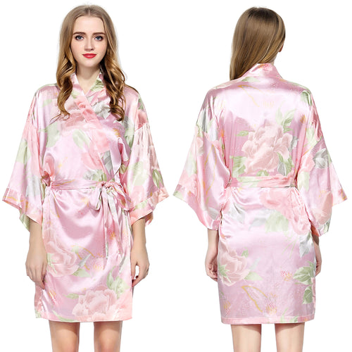 Pink Floral Satin Robe - SimplyNameIt