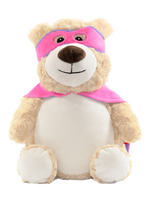 Pink Hero Bear with Embroidered Birth Stats - SimplyNameIt