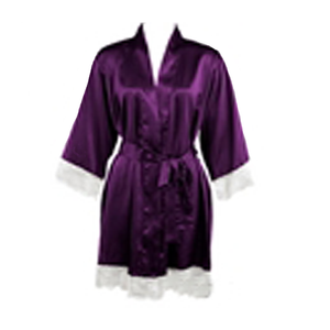 Plum Satin Lace Robe