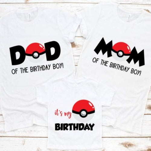 Pokemon Family Birthday Shirts - SimplyNameIt
