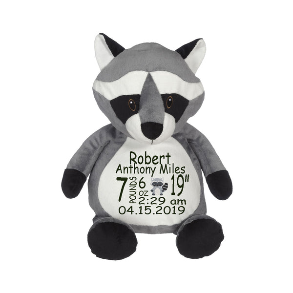Raccoon with Embroidered Saying or Birth Stats - SimplyNameIt