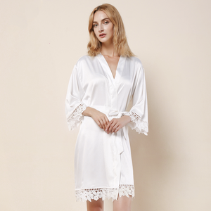 White Satin Lace Robe - SimplyNameIt