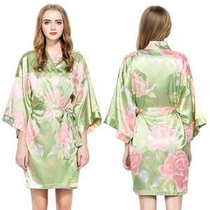 Sage Floral Satin Robe - SimplyNameIt