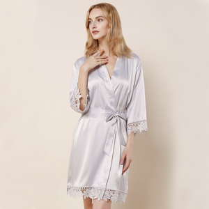 Silver Satin Lace Robe - SimplyNameIt
