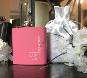 Team Bride Flask - Pink - SimplyNameIt