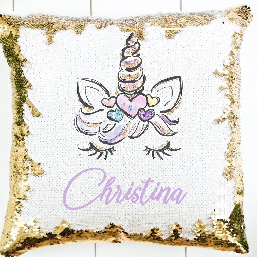 Unicorn Sequin Pillow - SimplyNameIt