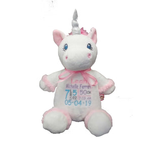 Unicorn with Embroidered Birth Stats - SimplyNameIt