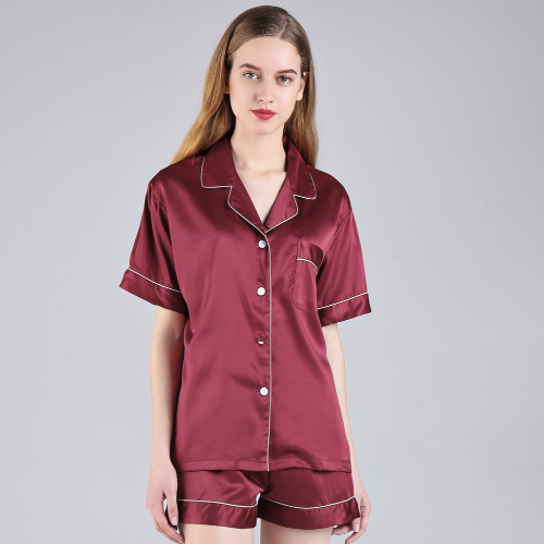 Wine Short Sleeve Button down and Shorts Pajama Sets - SimplyNameIt