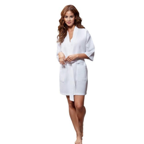 White Waffle Robe - SimplyNameIt