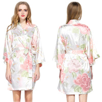 White Floral Satin Robe - SimplyNameIt