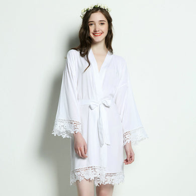 White Cotton Lace Robe - SimplyNameIt