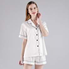White Short Sleeve Button down and Shorts Pajama Sets - SimplyNameIt