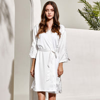 White Satin Triangle Lace Sleeve Robe - SimplyNameIt