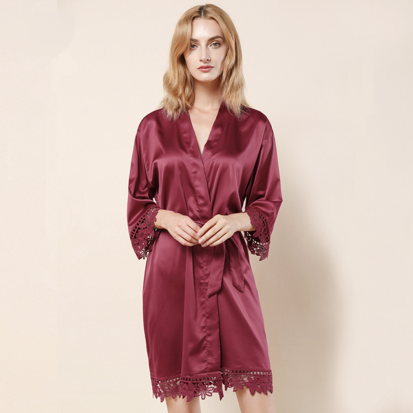 Wine Satin Lace Robe - SimplyNameIt
