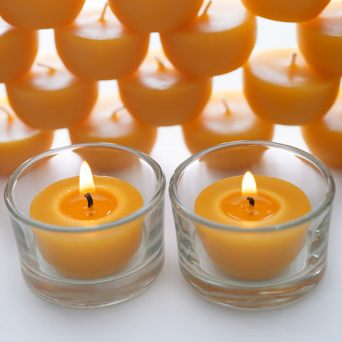 24 Beeswax Tea Lights with Two (2) Reusable Candle Holders